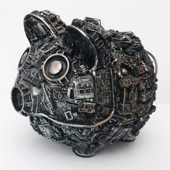 Richard Symons Art Steampunk Piggy Bank Made to Order