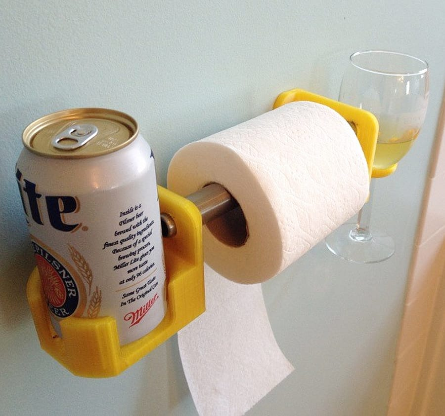 Toilet paper beer wine holder.