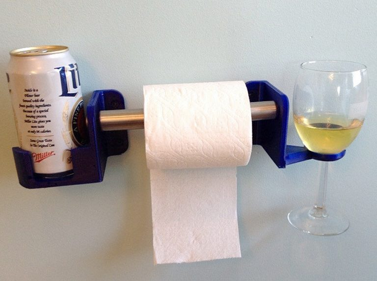 SOLIDink3d His and Hers Toilet Paper Holder Beverage Holder