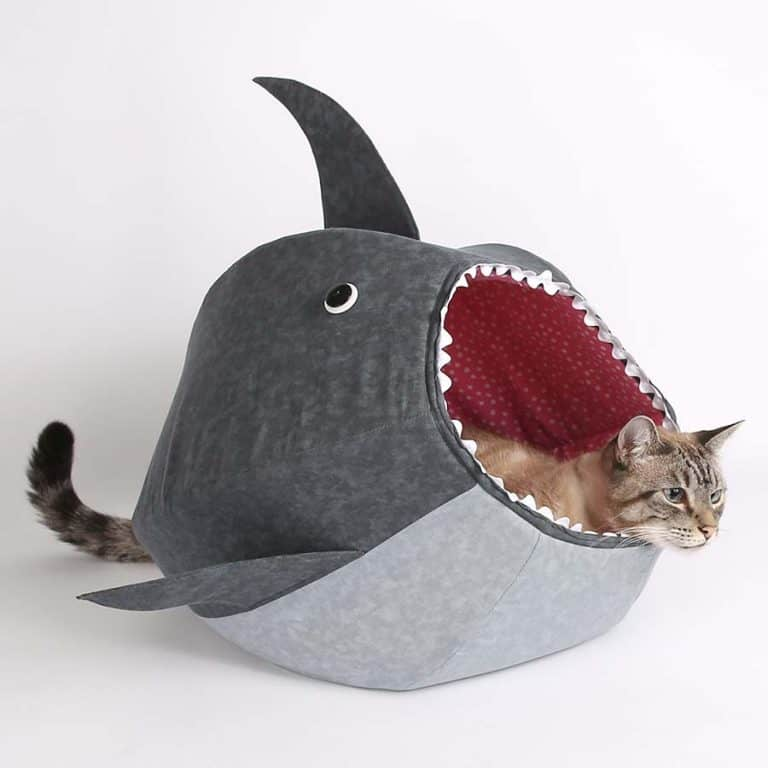 The Cat Ball Great White Shark Kitty Bed Machine Washable
