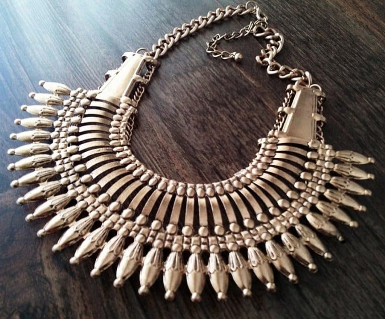 Canela de Plata Nepal Style Statement Necklace Antique Silver