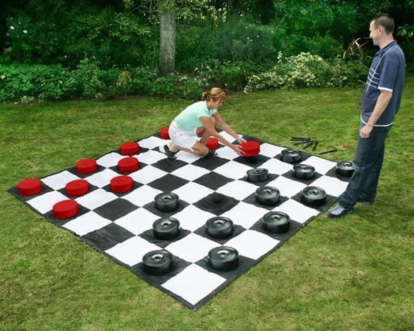 Garden Games Giant Checkers Set PVC Plastic