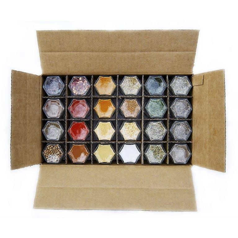 GneissSpice Hexagon Glass Spice Jars Condiments