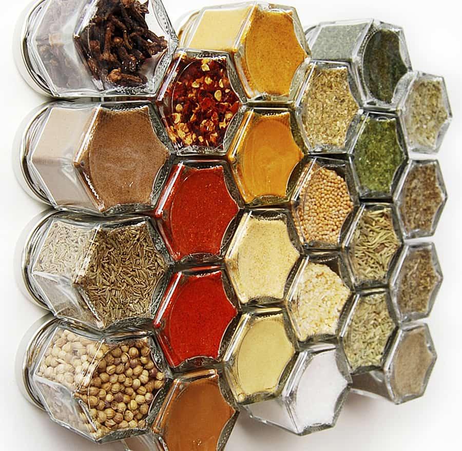 GneissSpice Hexagon Glass Spice Jars Kitchen Decoration