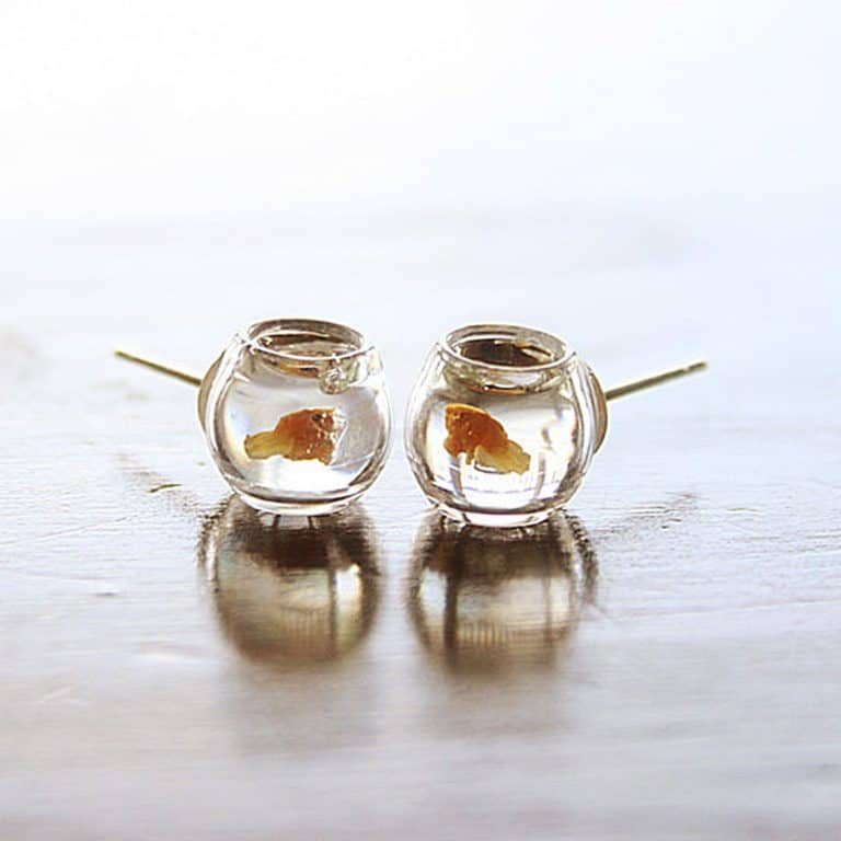 Le Petite Bonbon Goldfish In A Bowl Earrings Stud