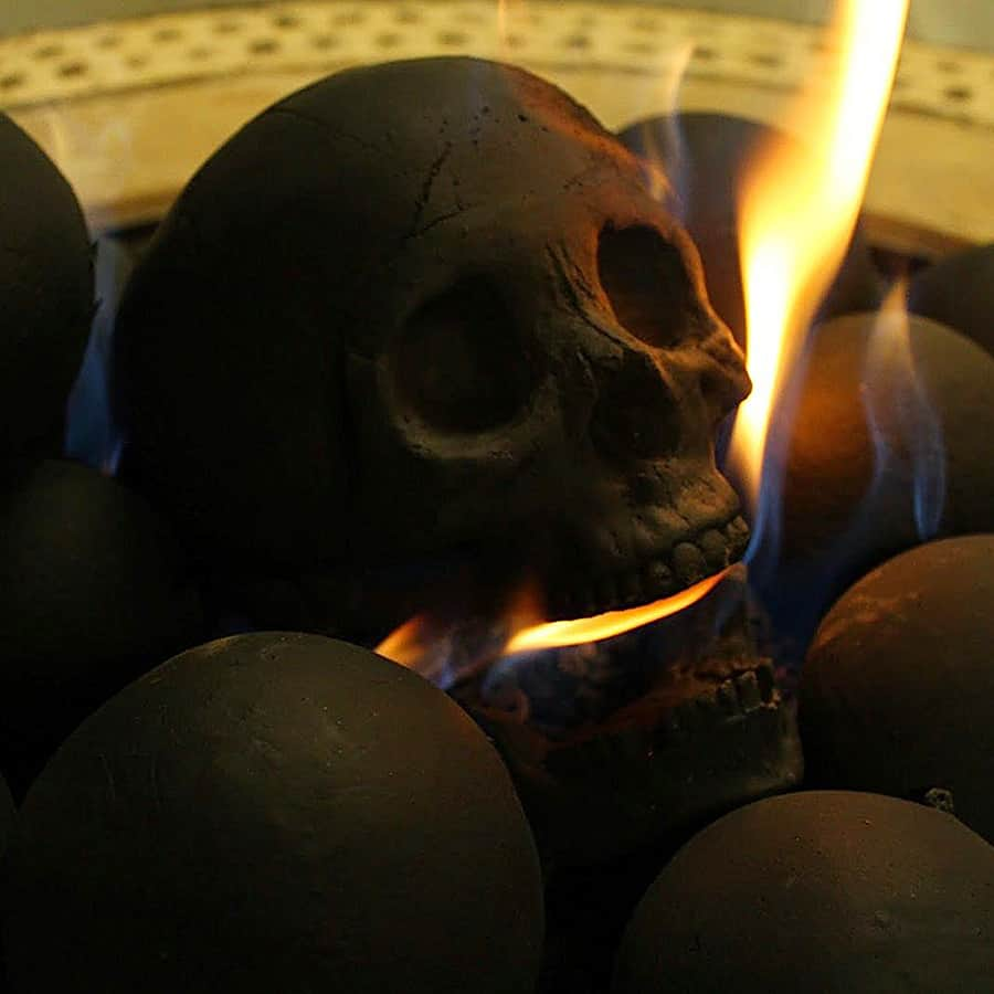 Myard Deluxe Human Skull Gas Logs Fire Pit