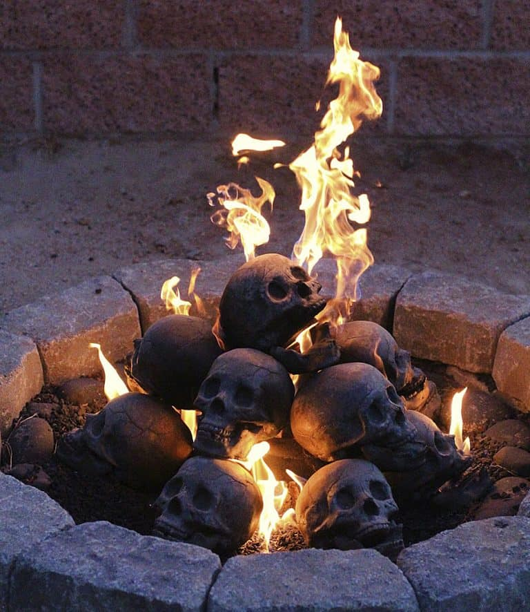 Myard Deluxe Human Skull Gas Logs Fire Place