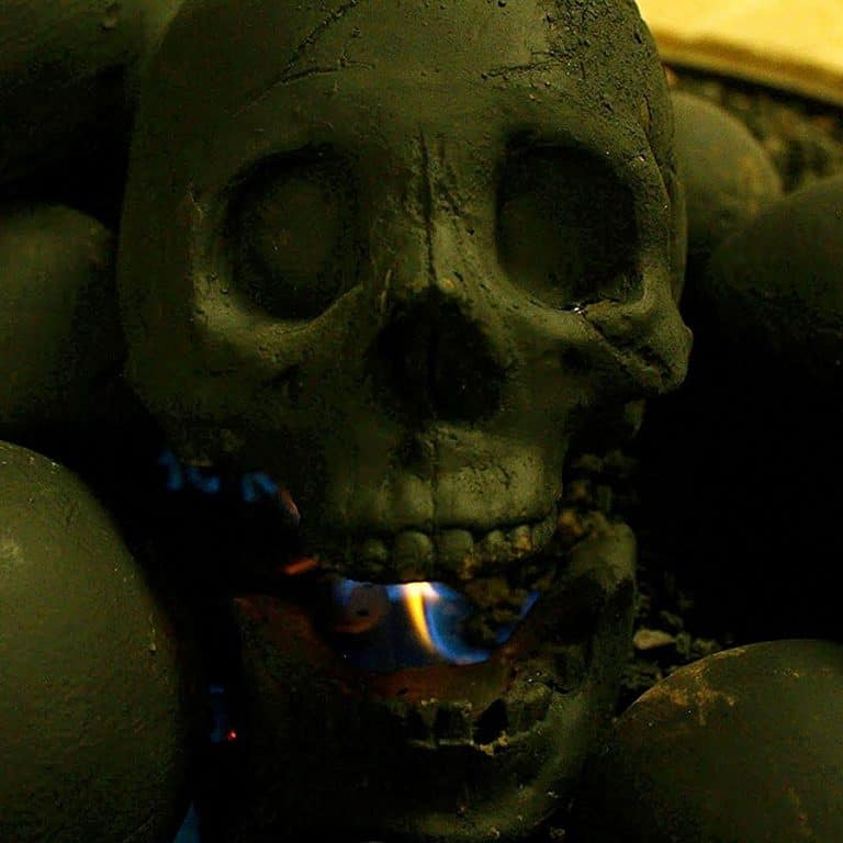 Myard Deluxe Human Skull Gas Logs Hand Painted