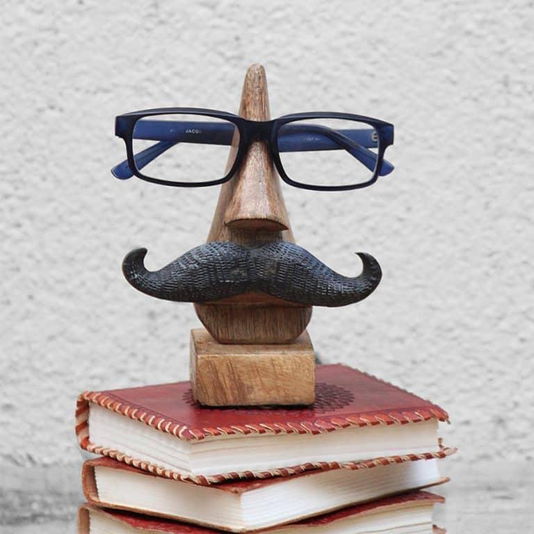Sarangpur Wooden Spectacle Holder with an Amusing Mustache Eye Glasses Holder