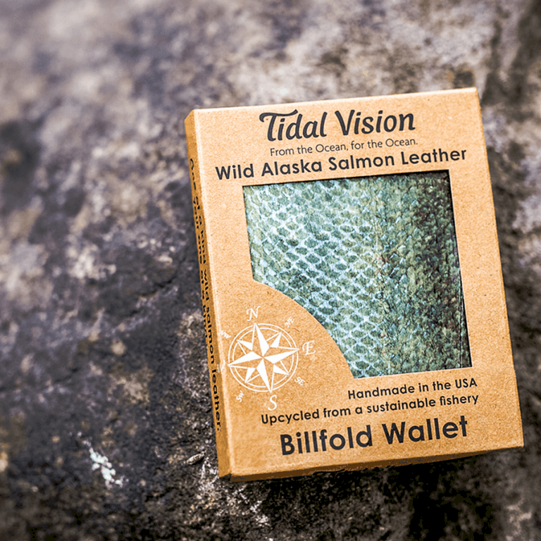 Tidal Vision Alaska Salmon Leather Billfold Wallet Accessories