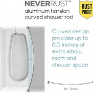 Zenna Home Neverrust Aluminum Tension Curved Shower Curtain Rod Noveltystreet
