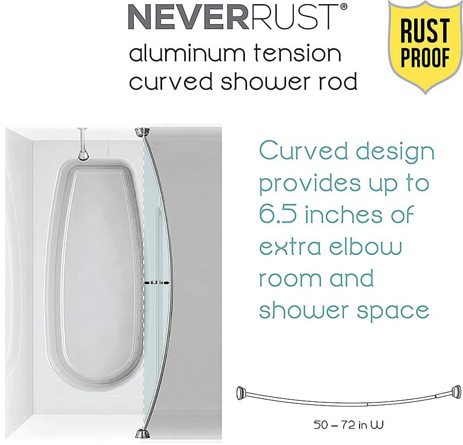 Zenna Home NeverRust Aluminum Tension Curved Shower Curtain Rod Rust Proof