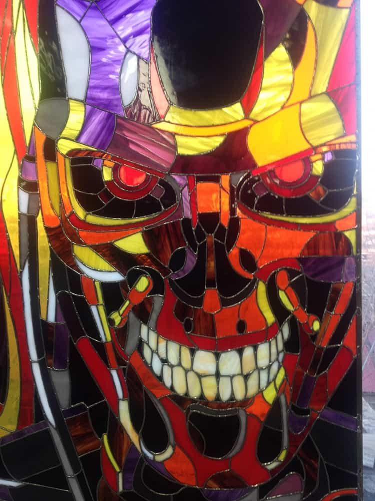 Art Brothers Terminator T-800 Stained Glass Picture Stained Glasses
