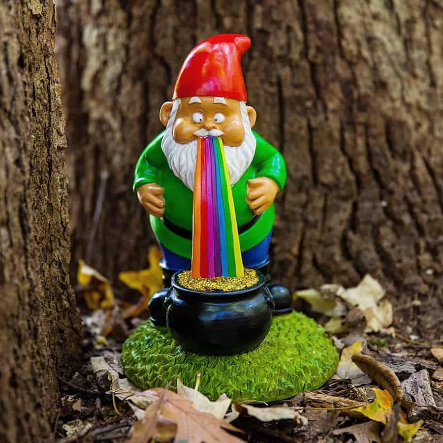 Gnome Garden: BigMouth Inc Lucky Rainbow Garden Gnome