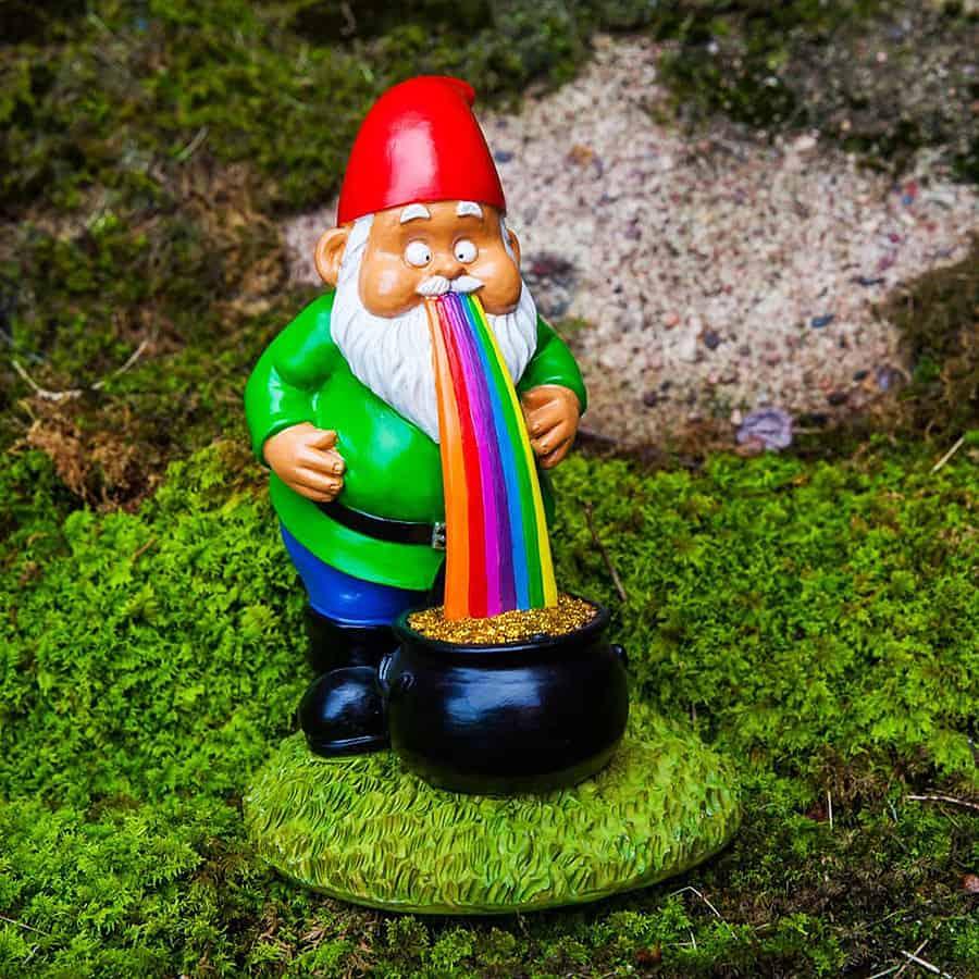 BigMouth Inc Lucky Rainbow Garden Gnome Resin