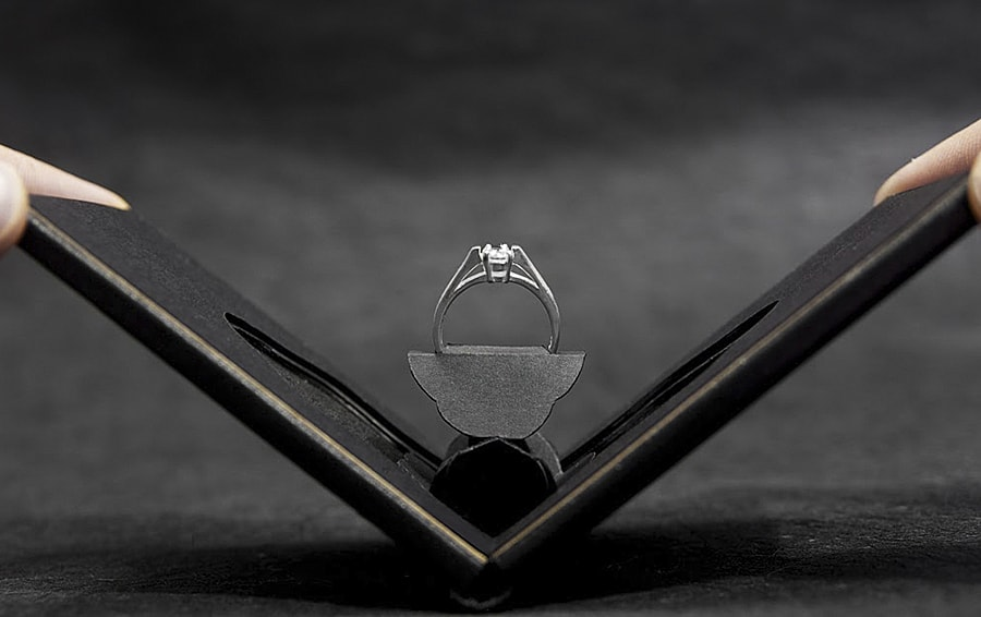 An engagement ring case that easily fits into your pocket!