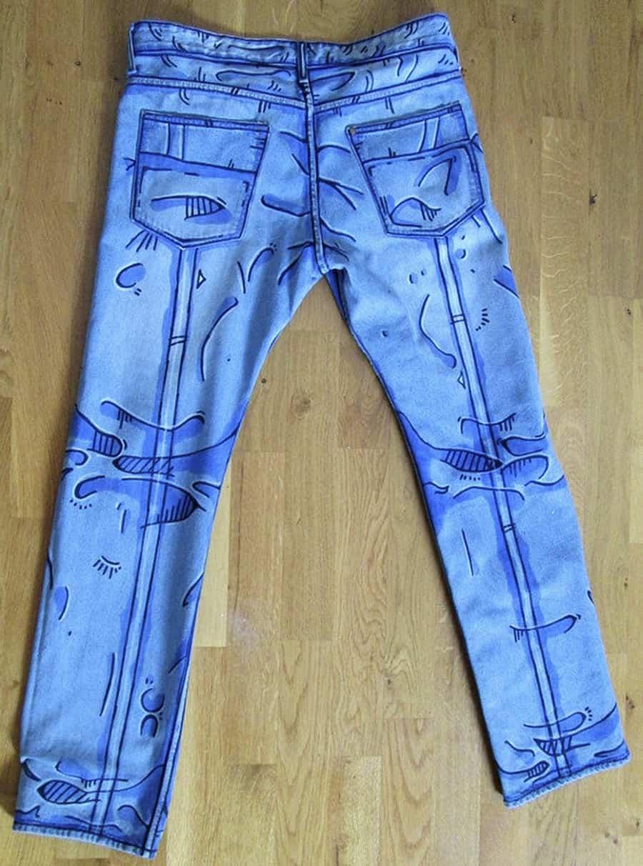 Déjà Neuf Heure Cel Shaded Pants Fabric Paint