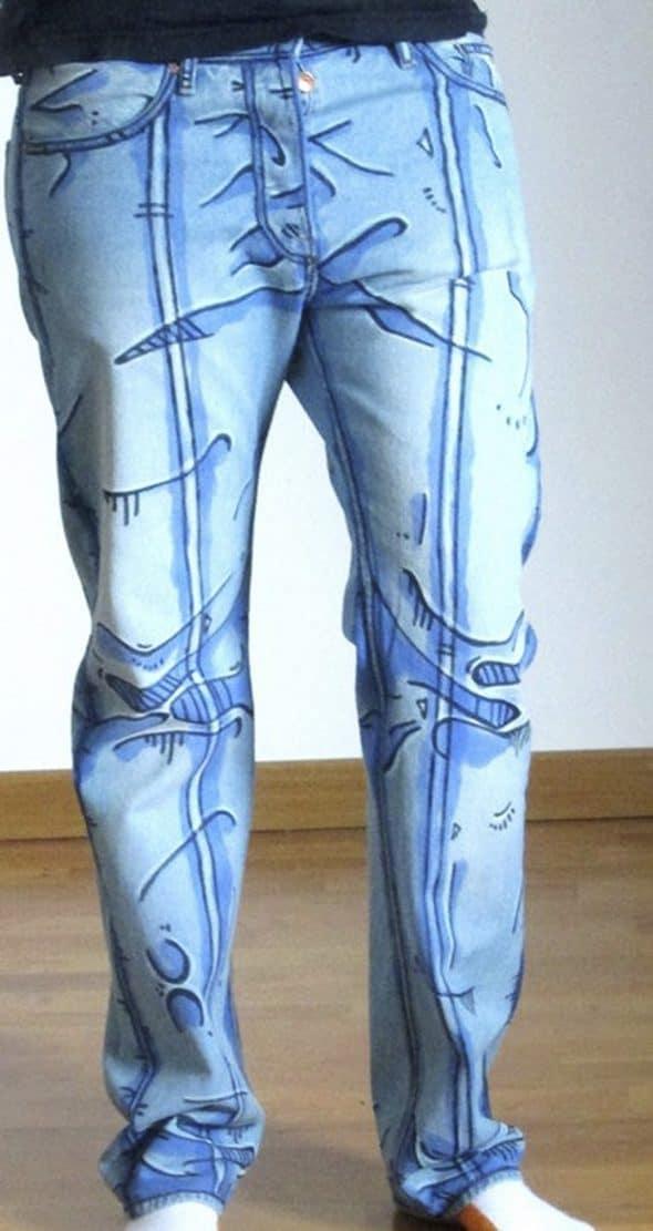 Déjà Neuf Heure Cel Shaded Pants Hand Painted