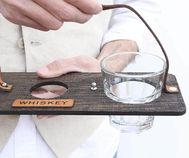 Host & Toast Studio Personalized Whiskey Bottle + Glass Carrier Set Faux Wood Grain Carrier