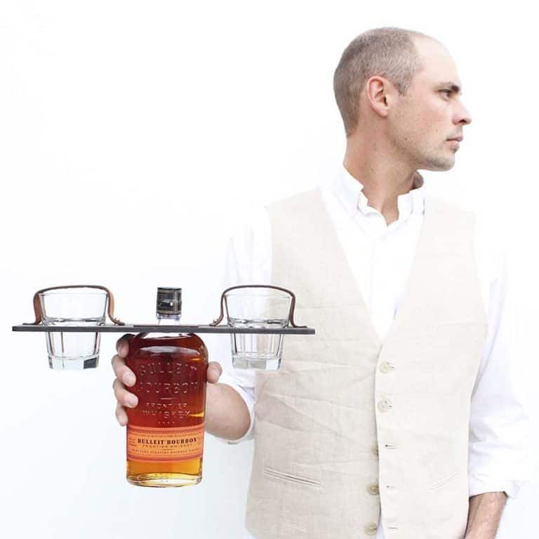 Host & Toast Studio Personalized Whiskey Bottle + Glass Carrier Set Leather