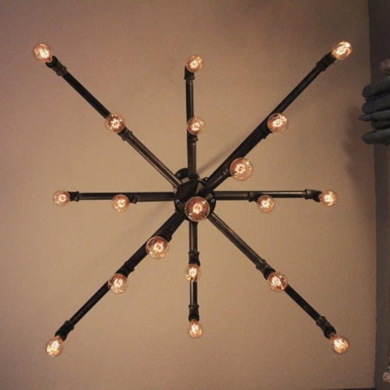Light Arted Vintage Wide Black Iron Pipe 19 Light Chandelier Furnitures