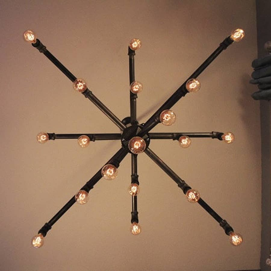 Light arted vintage wide black iron pipe 19 light for Black iron pipe lights