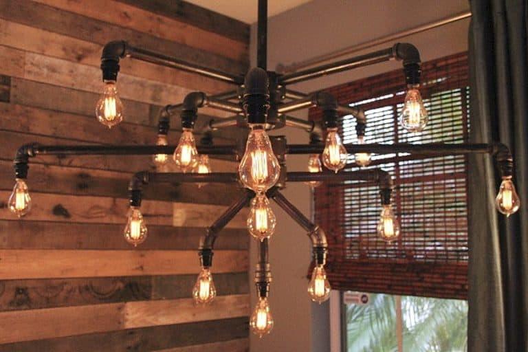 Light Arted Vintage Wide Black Iron Pipe 19 Light Chandelier Handmade Lights