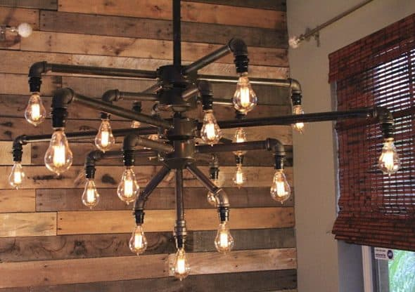 Light Arted Vintage Wide Black Iron Pipe 19 Light Chandelier Home Decoration