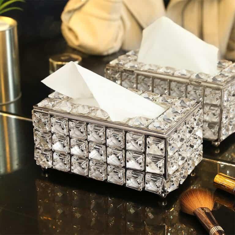 Luxury Rhinestone Tissue Box Holder Cool Room Decoration