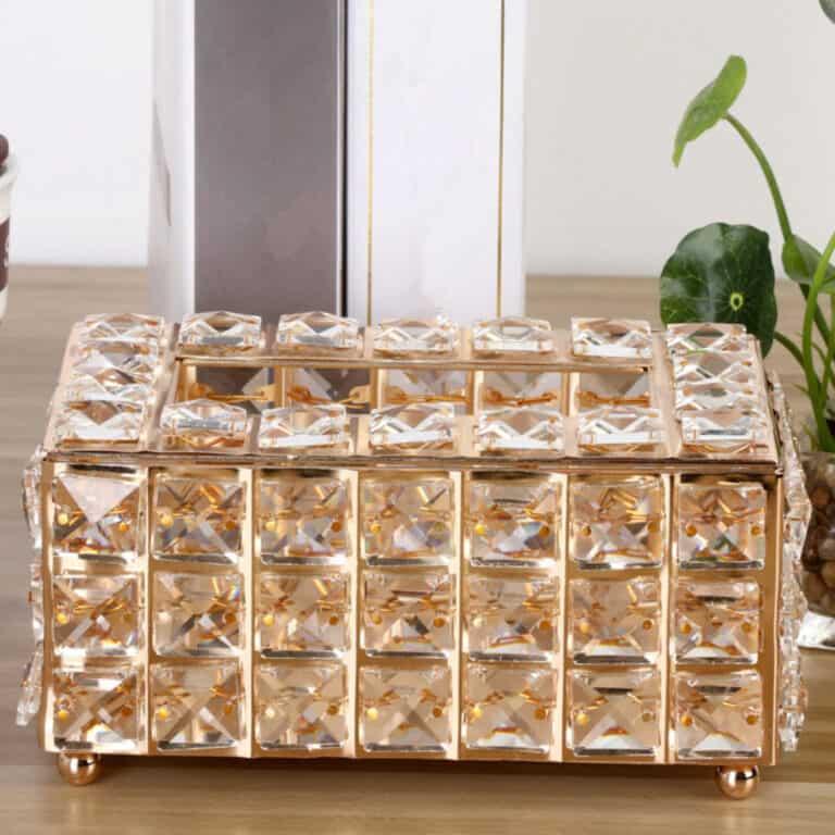 Luxury Rhinestone Tissue Box Holder Rose Gold