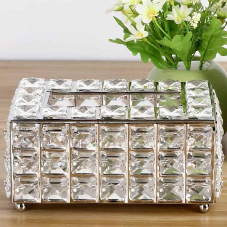 Luxury Rhinestone Tissue Box Holder Silver