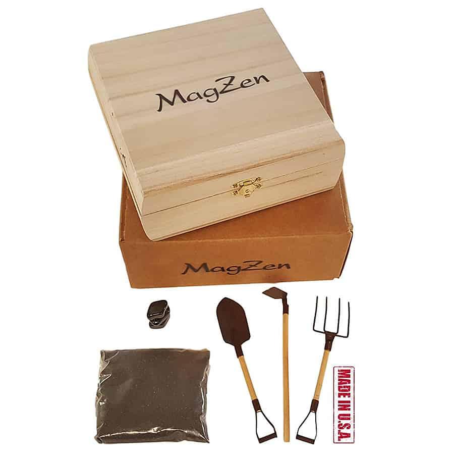 MagZen Magnetic Zen Garden Kit Metal and Wood Tools