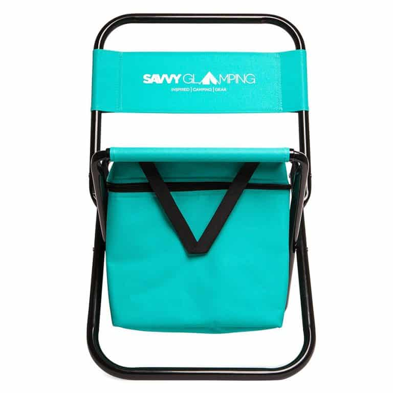 Savvy Glamping Mini Portable Folding Chair w Built In Cooler Camping Stool