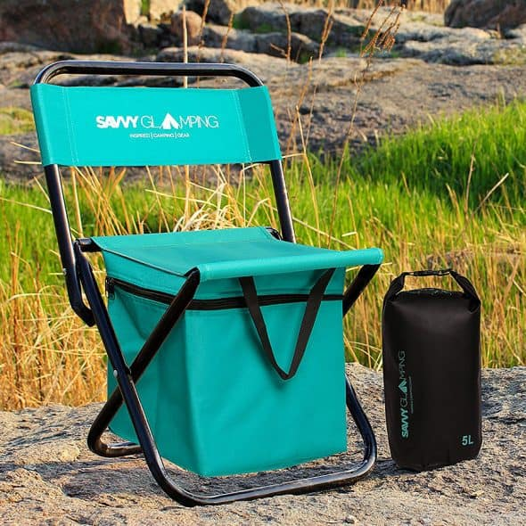 Savvy Glamping Mini Portable Folding Chair w Built In Cooler Outdoor Product