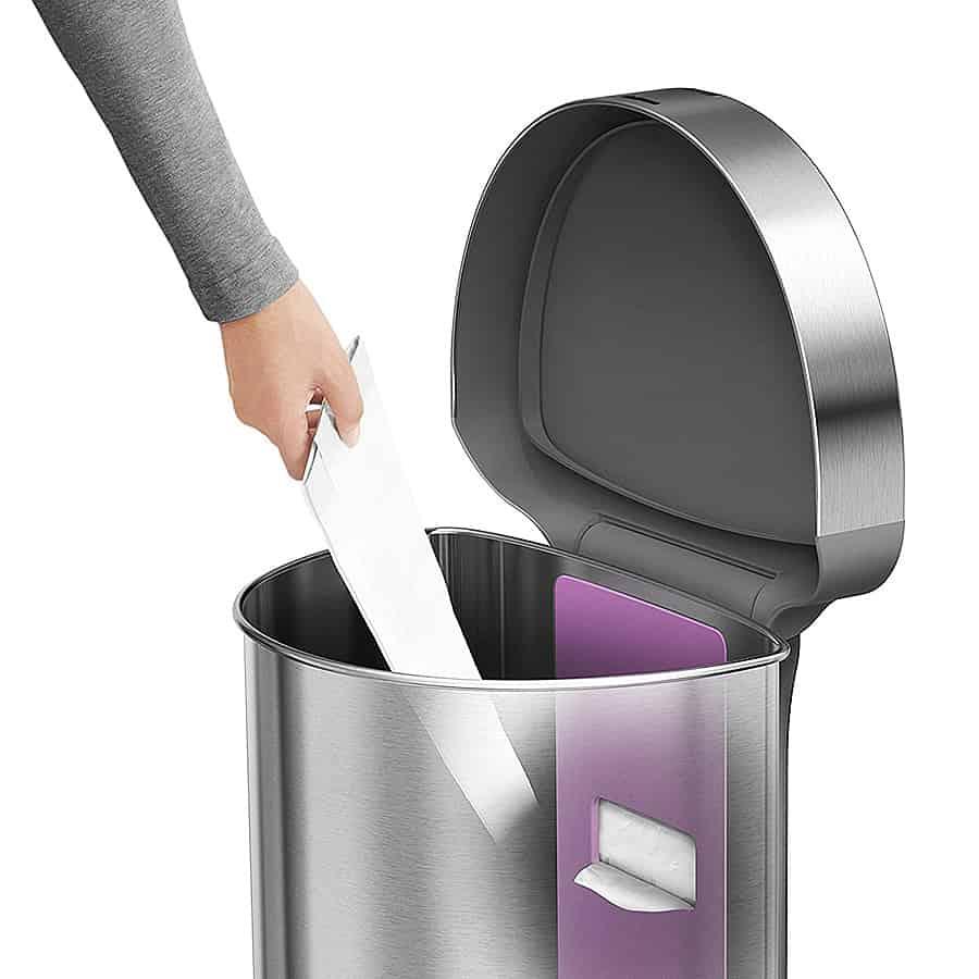 Simplehuman Touchless 45L Semi-round Sensor Trash Can Nano Silver Coat