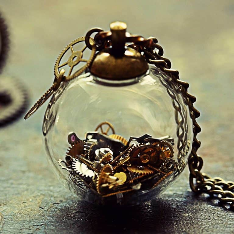 The Creaking Door Tick Tock Steampunk Necklace Crystal Ball