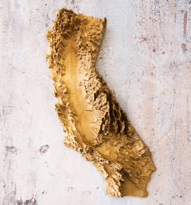 Us of Wood Wooden Topographic Map California