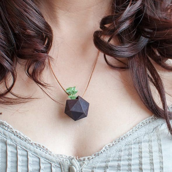 Wearable Planter Icosahedron Planter Necklace Leather