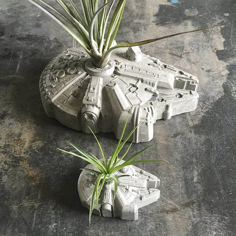 Anson Design Star Wars Millennium Falcon Concrete Planter Indoor and Outdoor Decoration