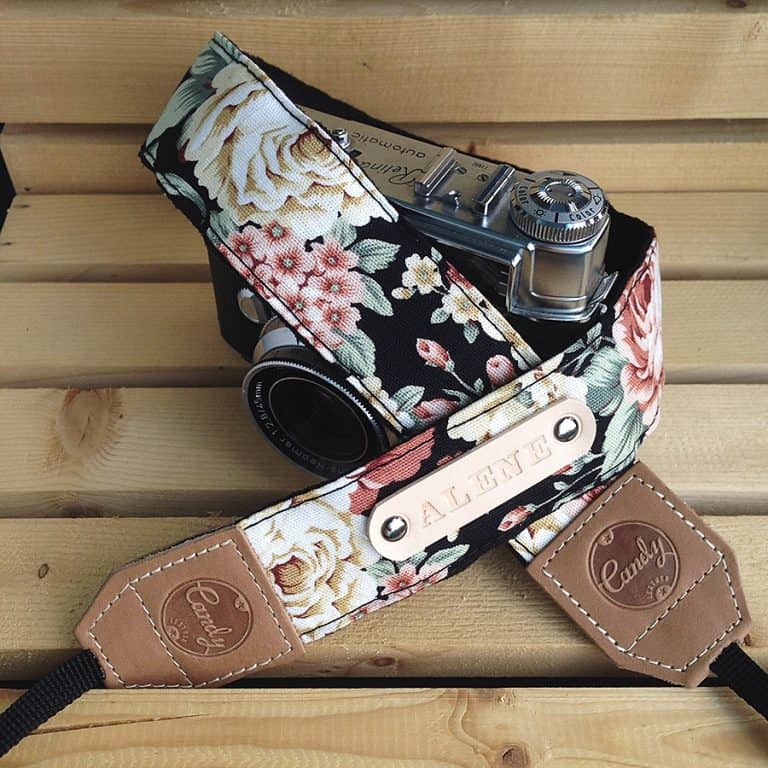 Candy Leather Flower Camera Strap Hand Made
