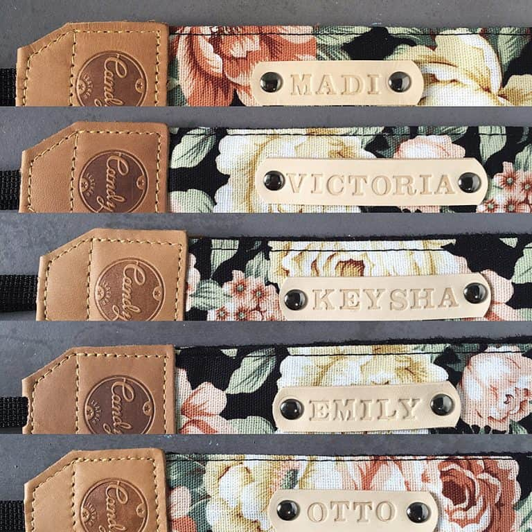 Candy Leather Flower Camera Strap Stamp Names