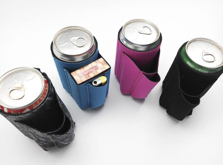 Chuggie Beer Can Coolie with Cigarette and Lighter Holder Pouches