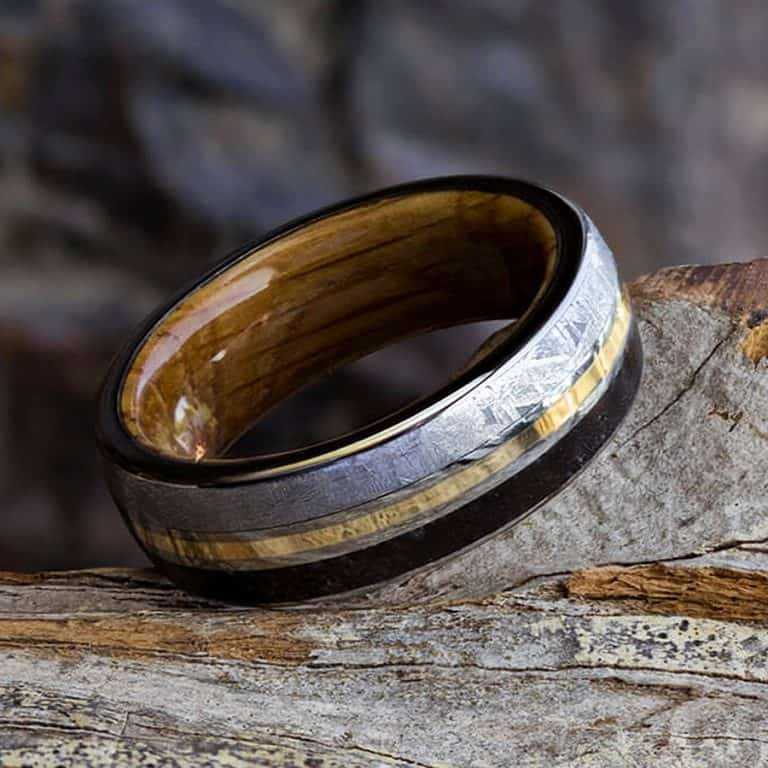 Jewelry by Johan Meteorite and Dinosaur Bone Wedding Ring Jewelries