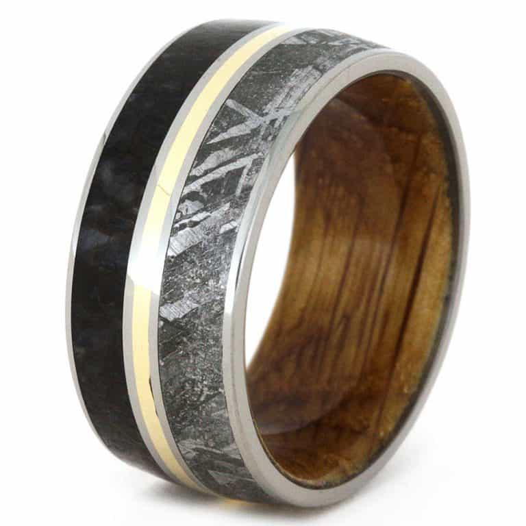 Jewelry by Johan Meteorite and Dinosaur Bone Wedding Ring Rings
