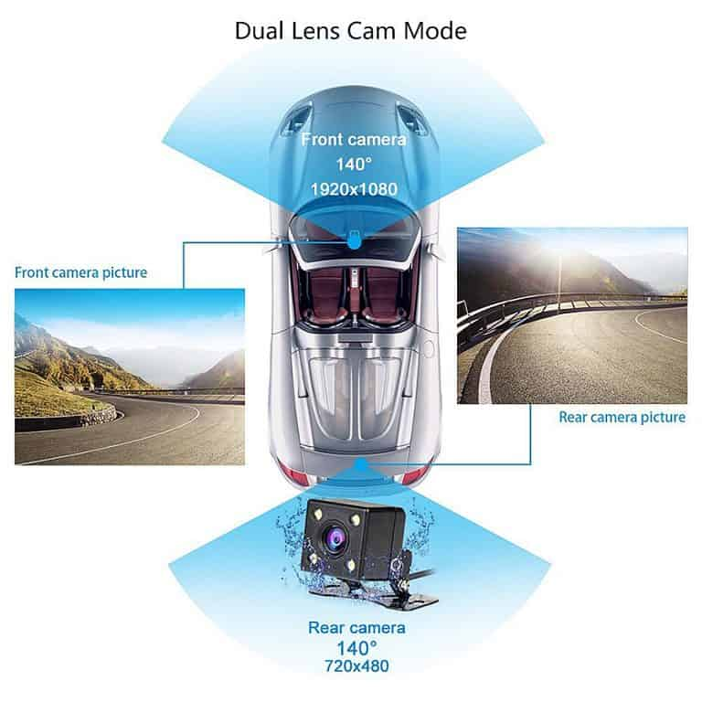 Junsun Rearview Mirror Camera Dual Lens