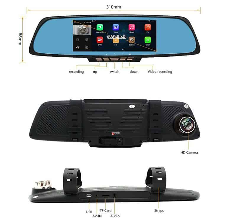 Junsun Rearview Mirror Camera Navigation
