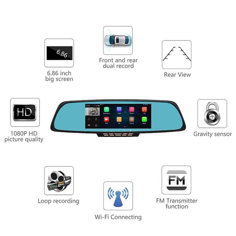 Junsun Rearview Mirror Camera Wifi