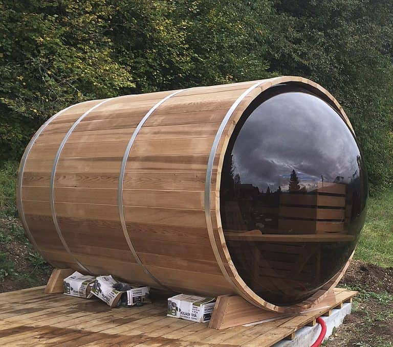 Leisure Craft West Panoramic View Barrel Sauna Acrylic Bubble Back Wall