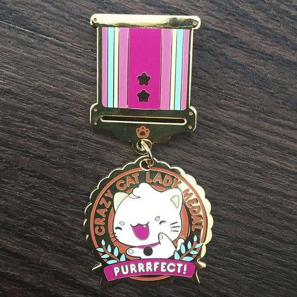 Milkbun Crazy Cat Lady Enamel Medal Novelty