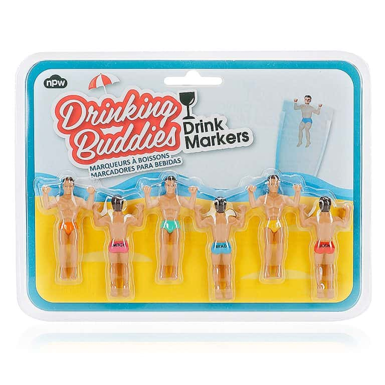 NPW Drinking Buddies CocktailWine Glass Markers Packaging